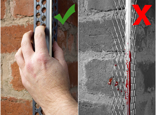 Image of a hand holding a PVC render bead safely next to a blood stained metal render bead